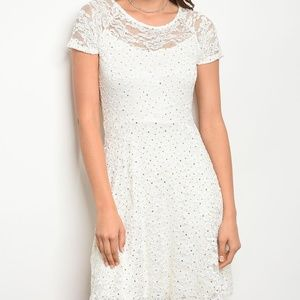 Dresses & Skirts - White lace dress with gold sequins